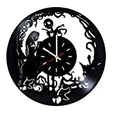 Nightmare Before Christmas Movie Vinyl Record Wall Clock - Nursery room or Home room wall decor - Gift ideas for teens, girls, sister - Unique Art Design