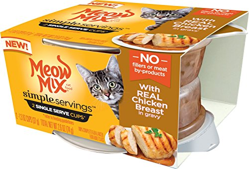 Meow Mix Simple Servings With Real Chicken Breast In Gravy Wet Cat Food, 1.3 Ounce (Pack Of 24)