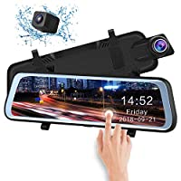 """CHICOM Mirror Dash Cam Backup Camera 9.66"""" Full Touch Screen Stream Media Dual Lens Full HD Reverse Camera,1080P 170° Full HD Front and 1080P 140°Wide Angle Full HD Rear View Camera?24-Hour Parking"""