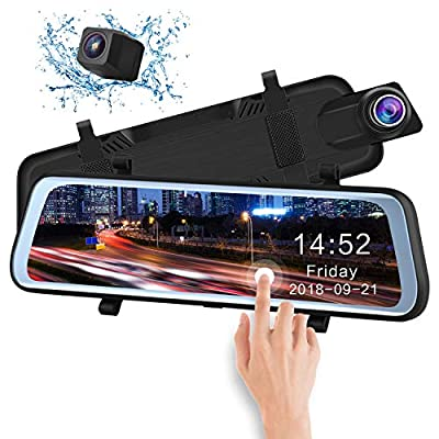 CHICOM 9.6 inch Mirror Dash Cam Touch Full Screen ; 350 Degrees rotatable 1080P 170° Full HD Front Camera;1080P 140°Wide Angle Full HD Rear View Camera