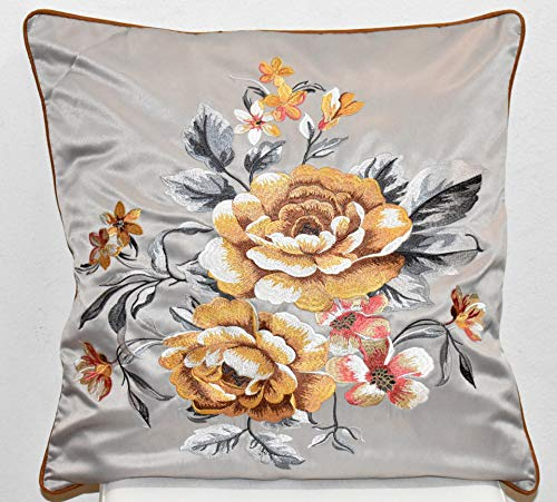 (Chinese Embroidered Decorative Silk Pillow Cover Yellow Floral on Silver 18 x 18 - Qty 2)