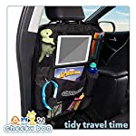 CheekyBoo – Child's Large Car Backseat Organiser with 10.1″ Touch Screen iPad/Tablet Holder for Kids and Toddlers. Black Car Storage and Seat Protector. Fits All Cars