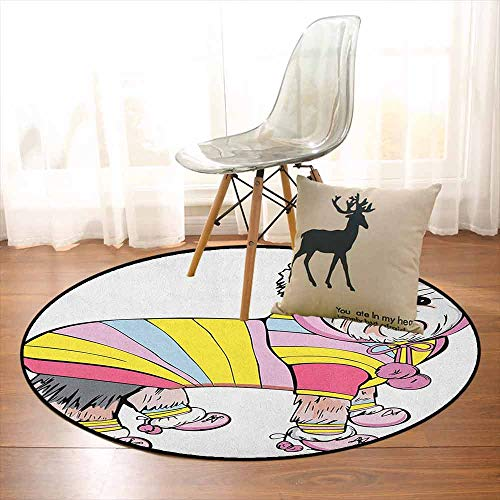 Yorkie Non-Slip Absorbent Carpet Cute Dog with Sports Gear on Running Gear on Going for a Walk Colorful Dress Fun for Floor Carpets D39.7 Inch Multicolor