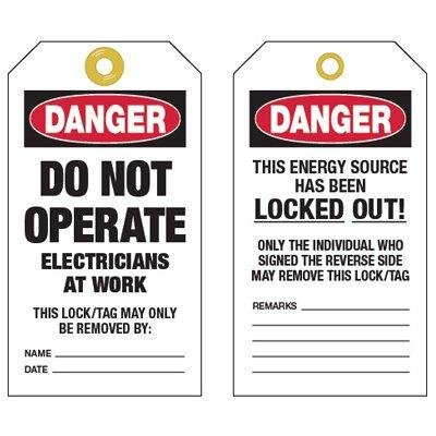 Electricians at Work Tags, Polyester