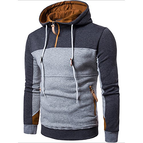 Pullover Patchwork Men Outwear Long Coat Sweater Fashion Sleeve Stand Gray Dark Collor UJUNAOR 4aXAwOqq