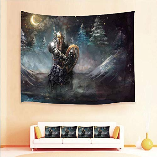 iPrint 1pcs Hanging Tapestry 4pcs Pillow case,Wall Hanging Blanket Beach Towels Picnic Mat Home Decor,Gothic Shield at Battle Place Winter Illustration,3D Printed Tapestry Bedroom Living Room ()
