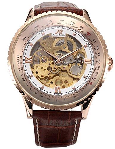 Kronen Soehne Genuine Leather Brown Round man mens Analog Mechanical Automatic Wrist Watch