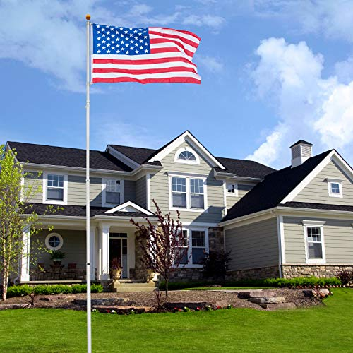 VINGLI 25FT Telescopic Upgraded Aluminum Flagpole,Upgarded Thick Tube Halyard Flag Pole Durable Kit Free 27~33mph 3'x5' USA American Flag Fly 2 Flags, for Outdoor Residential Garden Gazebo