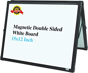 Lockways Small Dry Erase Board – Foldable Magnetic White Board Double-Sided Desktop 15 x 12 Inch, Black Aluminium Frame Wall Mounted Board for Office Home and School