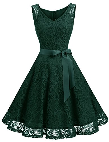 Dressystar Women Floral Lace Bridesmaid Party Dress Short Prom Dress V Neck M Dark Green