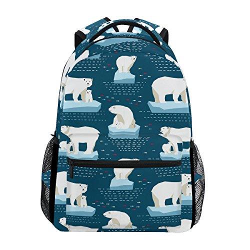 - GIOVANIOR Polar Bear Backpack School Bag Bookbag Hiking Travel Rucksack