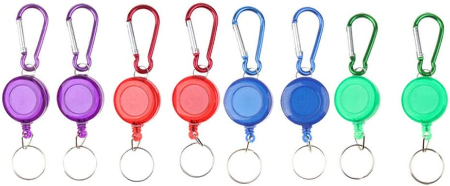 Retractable Key Chain Recoil Keyring Carabiner Clip ID Card Badge Holder Decor