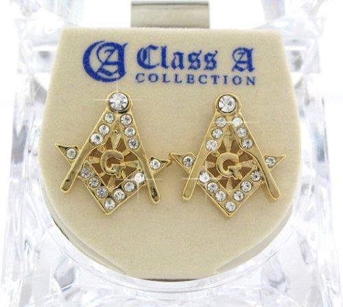 Gold Tone Sport Earrings (BLINK ICED Masonic G Mason CUBIC ZIRCON Gold TONE HIP HOP EARRINGS)