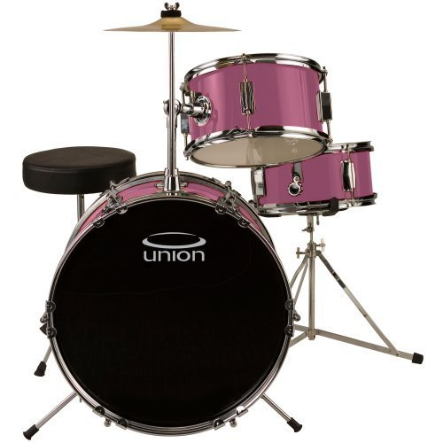 Union DBJ3071(PK) 3-Piece Junior Drum Set with Hardware, Cymbal and Throne – Pink