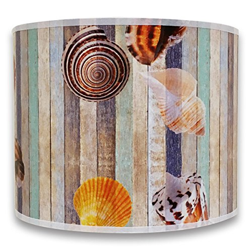 Royal Designs Modern Trendy Decorative Handmade Lamp Shade - Made in USA - Sea Shell on Colorful Wood Design - 10 x 10 x ()