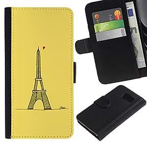 Billetera de Cuero Caso Titular de la tarjeta Carcasa Funda para Samsung Galaxy S6 SM-G920 / Tour D' Heart Tower Yellow Paris / STRONG