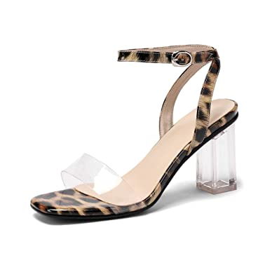 fb8cdfb873a19 Amazon.com | MIOKE Women Clear Strappy Leopard Sandals Open Toe ...