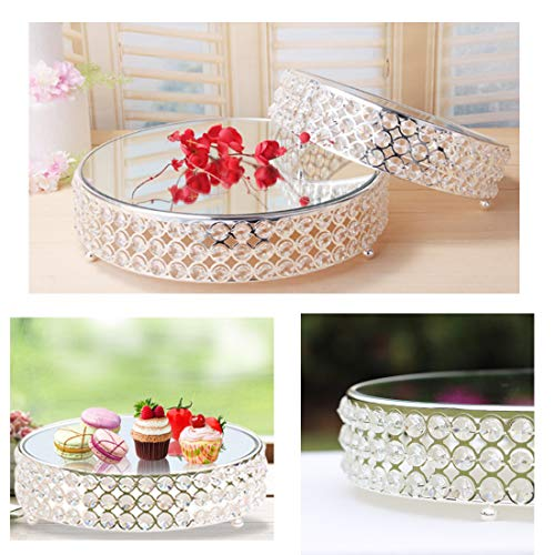 12in Wedding Cake Stands Bling Crystal Cupcake Display Supplies Tray Plate (round (L))