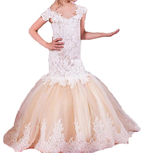 Bonnie Lace Mermaid Flower Girl Dresses Long Pageant Birthday Party Gown BS003, C Style: White&champagne, 5 by Bonnie_Shop