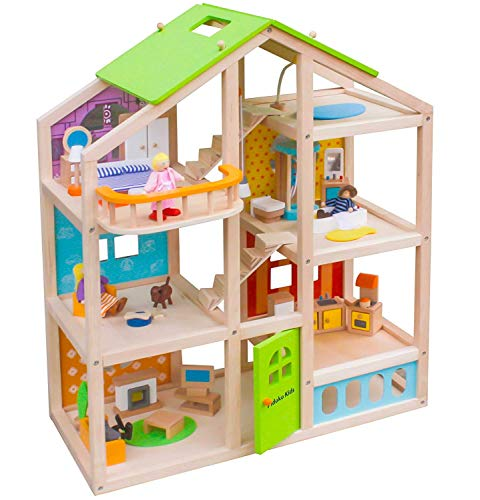 (Abigail Dollhouse with 40 pcs furniture set, 4 Dolls, and Pet dog - Wooden Doll)