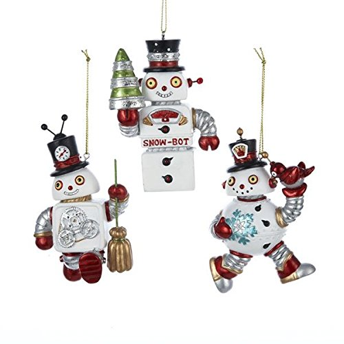 Kurt Adler Resin Robot Snowman Ornament Set OF 3