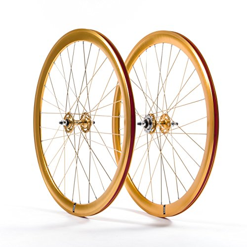 State Bicycle Fixed Gear/Fixie Machined Track Wheels (Front and Rear), Gold/Gold, 700c