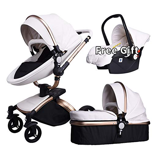 Baby Stroller,Babyfond 3 in 1 Anti-Shock Infant Carriage Pram Convertible Bassinet with Reclining Seat Combo,Free Gift Handheld Sleeping Basket,for Newborn and Toddler (White-B)
