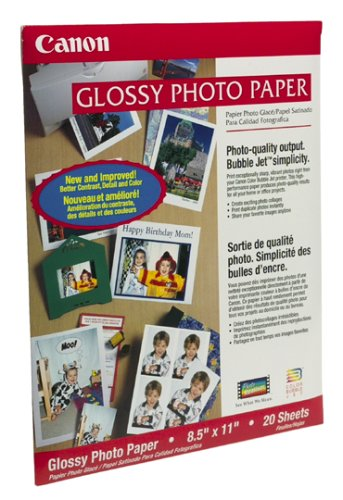 Canon GP201 Glossy Photo Paper for Bubble Jet Color Printers (20 Sheets)