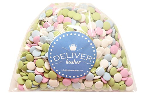 Deliver Kosher Bulk Candy - Assorted Pastel Mint Chocolate Lentils - 1lb Bag