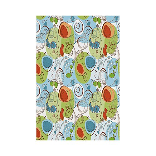 Light Blue Flower Funky (Polyester Garden Flag Outdoor Flag House Flag Banner,Modern Decor,Floral Flowers with Geometrical Abstract Funky Swirls Image,Light Green Blue and White,for Wedding Anniversary Home Outdoor Garden Dec)