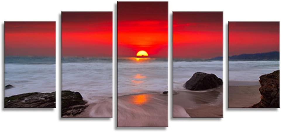 HLJ ART Sunset Red Sky Beach Photography Canvas Wall Art Modern Giclee Prints Artwork Multi Seascpe Pictures Photo Paintings Stretched and Framed, Ready to Hang