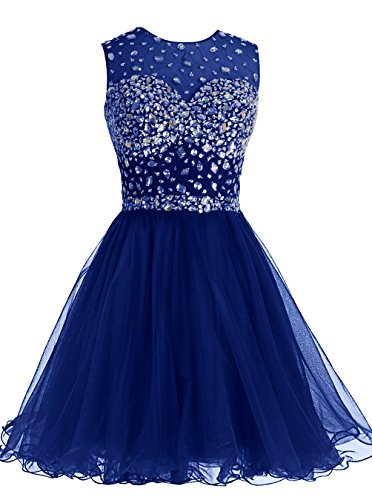 ALAGIRLS Short Homecoming Dress Open Back Tulle Prom Dress with Beads RoyalBlue18Plus by Tideclothes