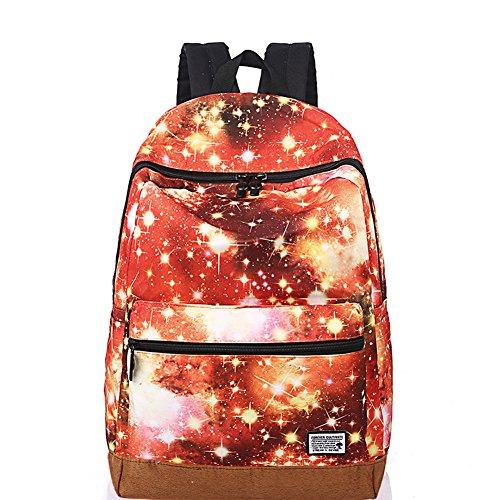 Unisex Fashion Casual School Travel Laptop Backpack Rucksack Daypack Tablet Bags (Orange) - 2