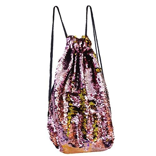 PojoTech Mermaid Bag Sequin Drawstring Backpack Dancing Bag Fashion Sequin Backpack (Pink&Gold) Mum Drawstring