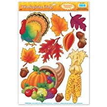Beistle Decorative Thanksgiving Clings, 12-Inch by 17-Inch Sheet