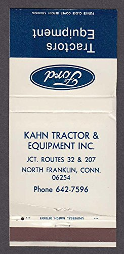 - Kahn Tractor & Equipment North Franklin CT Ford matchcover