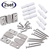 2 Sets Furniture Flush Mount Bracket-Headboard Wall Mount Hardware-Large Picture Hangers-Mirror Hook Matching Hook-Stainless Steel Interlocking Z Clips (Large,with Screws and Expansion Plastic Plug)