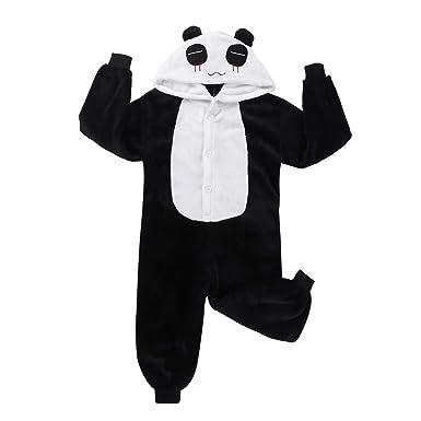 5addae1882400 ranrann Enfant Combinaison Pyjama Panda Animaux Vêtements de Nuit Flanelle  Chaud Polaire Lingerie Ensemble Costume Anime
