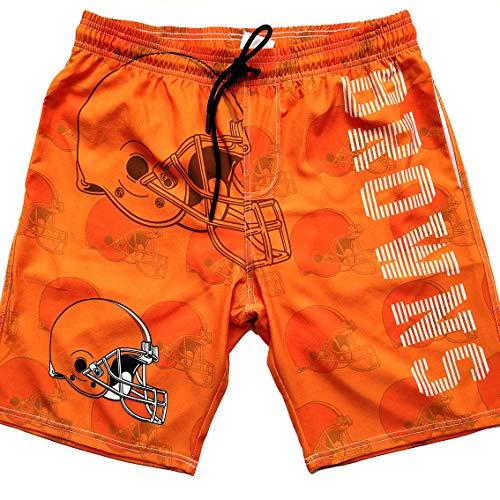 Men's Sportwear Quick Dry Board Shorts Training Swim Running Trunks Shorts Beachwear Bathing Suits with Lining (L, Brown) ()