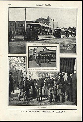 Street Car Strike Albany New York Military Escort 1901 antique historic print