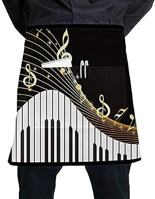 Yushg Delantales de Camarera de Colores Teclas de Piano de Arte ...