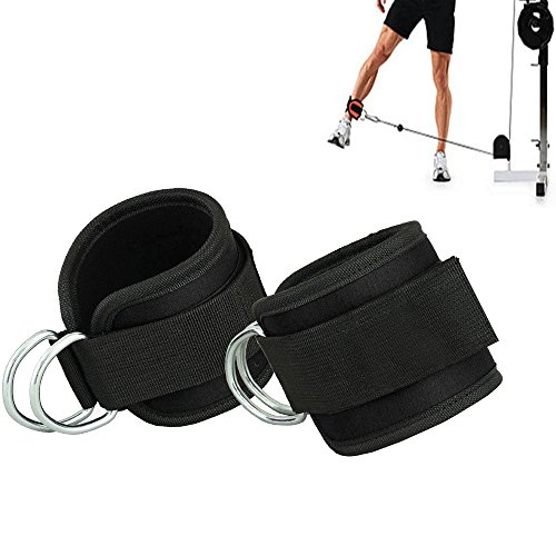 Gymforward Double D-ring Ankle Cuff Straps Adjustable Leg Weight Wrist Belt for Cable Machine Attachment , 1Pair (Black)