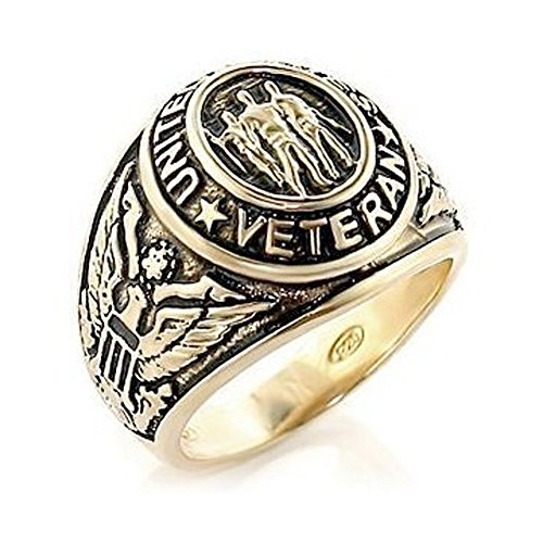 US Military Veteran Ring - (Gold Color) War Veteran Jewelry Military Rings for Army, Navy, Marines, Air Force, Coast Guard - Officers Military gear with flag decal emblem design. (8)