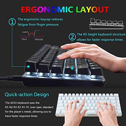 FELiCON Mechanical Keyboard, AK33 White LED Backlit USB Cable Gaming Mechanical Keyboard, 82 Key Compact Mechanical Gaming Keyboard with Anti-ghosting Keys for Gamers and Typists