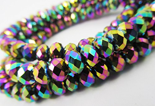 BeadsOne 55pcs Glass Rondelle Faceted Beads 8mm Multi Rainbow Metallic C38 Top Quality AAA