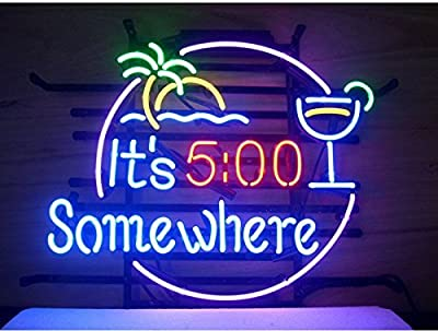 It's 5:00 Somewhere Beer Bar Pub Store Party Room Wall Windows Display Neon Signs19x15