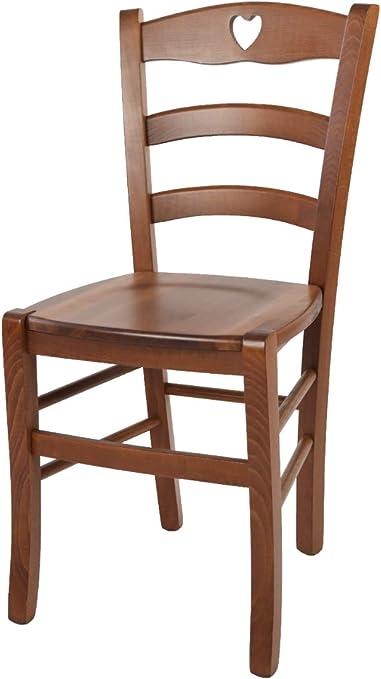 tmcs Tommychairs Set 1 Sedia Classica Cuore per Cucina e Sala da Pranzo, Robusta Struttura e Seduta in Legno di faggio Verniciata Noce Chiaro