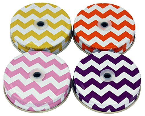 Straw Hole Tumbler Lids for Regular Mouth Mason, Ball, Canning Jars (5 Pack, Thick Chevron)