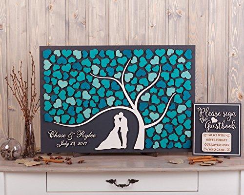 PotteLove Wedding Guest Book Alternative Idea Custom 3d Guestbook Rustic Wedding Decor Tree Hearts Newlyweds Wood Guest Book Turquoise Wedding Theme