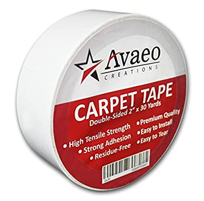 """Avaeo Creations Double Sided Tape for Carpet/Rug-Heavy Duty Adhesive-Indoor/Outdoor-White-2"""" x 30 Yards-No Residue-Floor Mats-Hardwood Floors-Stair Treads-Runners-Easy to Install Removes w/o Damage"""